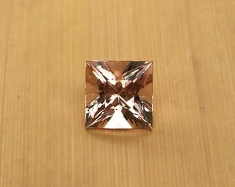 Natural Genuine Morganite - 7.97 x 8.01mm, 6.08mm deep Princess shape Loose Peach Pink Morganite Gemstone, 2.35 carats - LSG1021