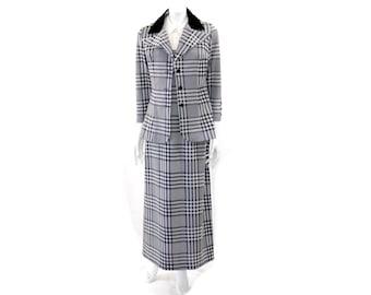 Vintage 60s Two Piece Grey Plaid Set// Sleeveless Maxi Dress and Jacket Set // 122