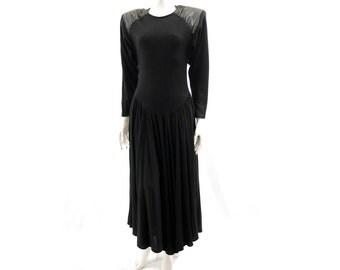 80s Black Wool and Leather Dress // Long Sleeve Maxi Dress// Bohemian Evening  Dress// Size 8 // 124