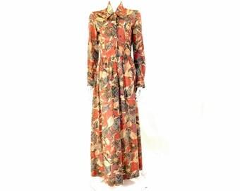 Vintage 70s Floral Dress// Metallic Dress// Silver Threads Maxi Dress// Size 12// 126