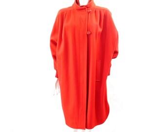 Vintage Batwing Cocoon Wool Coat // Herman Kay Coat // Red Wool Coat// Winter Warm Red Coat// Size L // 96