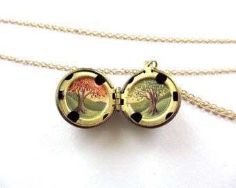 Miniature Oil-Painting Trees Locket, Spring and Autumn Seasons, Gift for Graduation