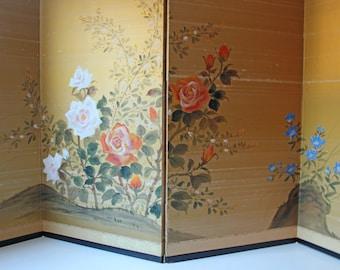 Vintage gold silk 4 panel Asian folding screen divider w/ flowers; elegant gold background, artist signed