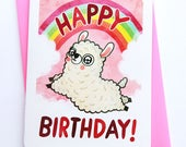 Rainbow Llama - funny birthday card girlfriend birthday card friend birthday card for her best friend birthday card alpaca birthday card