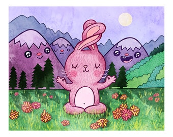Bunny Yoga - Bunny Print Nursery Art Bunny Art Yoga Art Woodland Animal Bunny Illustration Gender Neutral Baby Nursery Animal Art Print