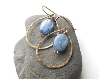 Gold Hoop Earrings, Blue Kyanite Earrings, Hammered Gold Filled Gemstone Dangle Hoops, Boho Earrings