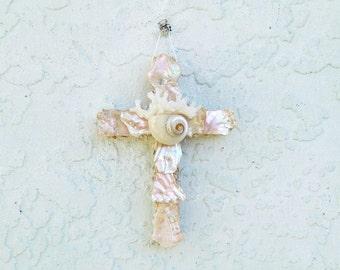 Seashell Cross Ornament, Wall Hanging Pearl and Aqua Abalone Shell Crucifix, Coastal Christmas Decor Religious Baptism Gift