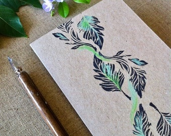 Leaf Line Hand Printed and Hand Coloured Artisan Gift Card on Recycled Kraft Card