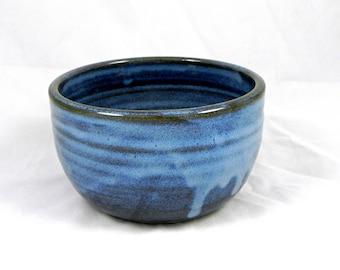 One Stoneware Ceramic Bowl Blue Pottery