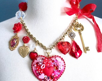 Sample Sale Kisses and Love Resin Candy Heart Charm Necklace