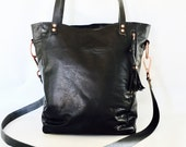 Large Camino leather tote bag in black // antique copper hardware