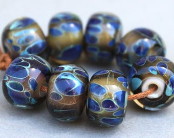 Borosilicate Glass Beads - Boro Beads - Dark Plum Base Dark Blue Spots