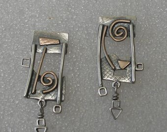 Geometric Spiral Mixed Metal Post Earrings