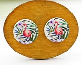 Buy 1 Get 1 Free - Vintage Flamingo Wooden Cabochon, Koala Wooden Button, 12mm 15mm 20mm  Round Handmade Photo Wood Cut Cabochon -- HWC045V