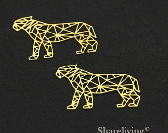 Exclusive - 4pcs Raw Brass leopard Charm / Pendant, Geometry leopard, Fit For Necklace, Earring, Brooch - TG279