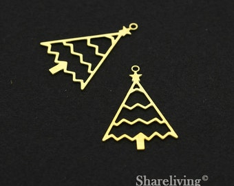 Exclusive - 8pcs Raw Brass Star Tree Charm / Pendant,  Fit For Necklace, Earring, Brooch  - TG329