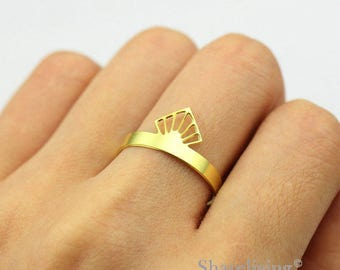 2pcs Raw Brass Crown Ring, Adjustable Geometry Brass Rings - TR030
