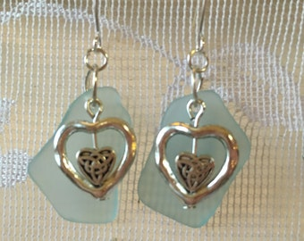 aqua beachglass heart earrings with silver plated wires,  vintage broken glass earrings, seaglass inspired