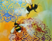 Bee painting 390 12x12 inch insect animal portrait original oil painting by Roz