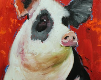 Pig painting 249 18x24 inch original oil painting by Roz