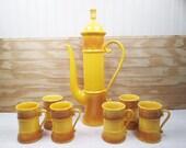 Vintage Ardco Coffee Serving Set Carafe Pot & Cups Yellow Gold Ceramic Japan Retro Mid Century