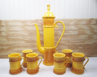 Vintage Ardco Coffee Serving Set Carafe Pot & Cups Yellow Gold Ceramic Japan Retro Mid Century