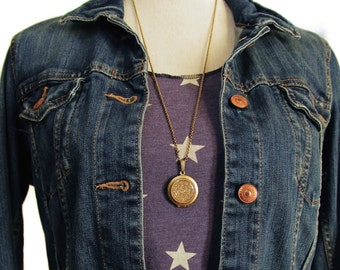 Glitter Locket- Glistening Gold Bling Glitter Locket Necklace