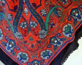 Vintage Red Scarf 34 inches square Black Borders