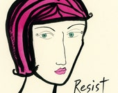 RESERVED FOR ERIN Y. Original Resist Watercolor and ink painting in black wood frame. 5x7 inches.