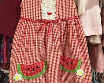 Gingham Watermelon Dress Girls 6