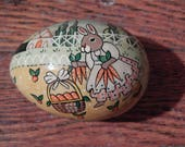 Vintage Egg Shaped Paper Mache Box