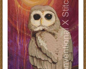 Owl cross stitch pattern - Skulking by Owl Light - Licensed Brianna Reagan