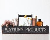 Vintage Tote, Watkins Products, Black Wooden Salesman Tote, with original bottle
