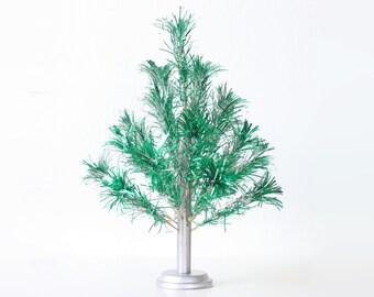 Vintage Green Aluminum Christmas Tree, Pom Pom Tree, Peco
