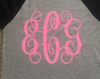 Girls Monogrammed Shirt Ragland Shirt Perfect Gift You Choose Color and Gliiter