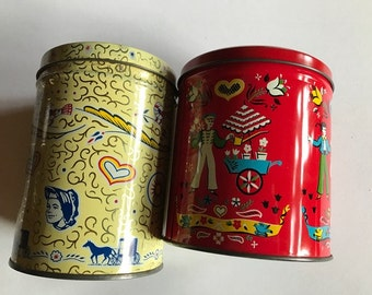 vintage  tins great for sewing crafts teas herbs 5 inches by 4 inches