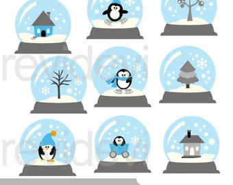 Winter snowglobes clipart, blue grey, penguin, tree, house - digital images, commercial use - instant download