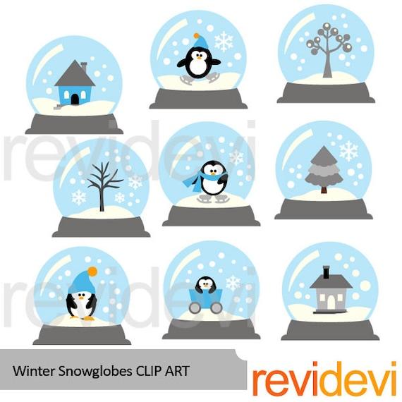 Winter Snowglobes Clipart Blue Grey Penguin Tree House