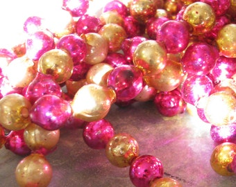 Gorgeous Vintage Hot Pink & Gold Mercury Glass Bead Garland Strands