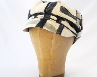 Newsboy Hat, Black and White, Abstract Pattern, Casual Hat, Spring Style, Bad Hair Day Hat, Womens Hat, New Wave, Summer Fashion, Cute Cap