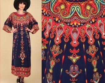 RARE Bohemian Mandala Caftan // ViNtAgE 60's 70's Woodstock Era // Angel Wing Dashiki Maxi Dress Angelwing Hippie Boho