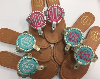 Monogrammed personalized summer Sandals with interchangeable disk -new sizes 8 9 10  flip flops