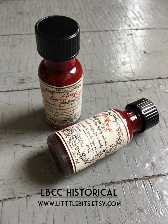 Victorian Accessories- Fan, Gloves, Purse, Belt, Spats, Wig Holiday Berry Liquid Rouge-  Natural Lip Stain Dark Berry Red Lip and Cheek Tint - Limited Edition $10.00 AT vintagedancer.com