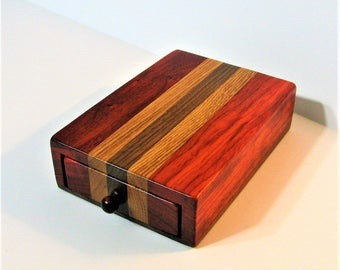 Puzzle Box Made Of Three Woods With Locking Drawer