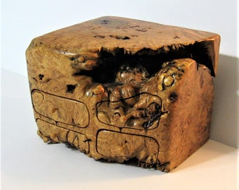 Maple Burl Wood Treasure Box With Four Drawers And A Secret Drawer