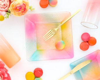 Colorful Pink, Peach, and Turquoise Gradient Plates - Choose your size  - Appetizer, Salad, or Dinner Plates