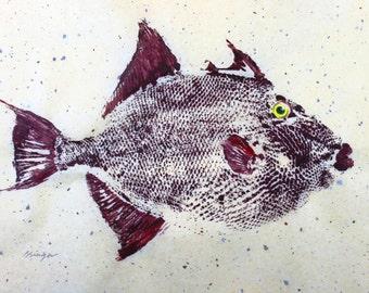 GYOTAKU fish Rubbing Triggerfish 8.5 X 11 Fisherman Gift quality salt Water Art Print by artist Barry Singer