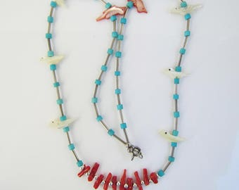 Vintage Native American - Zuni - Liquid Sterling Silver, Turquoise and Coral Bead and Shell Bird Fetish Necklace    1376C
