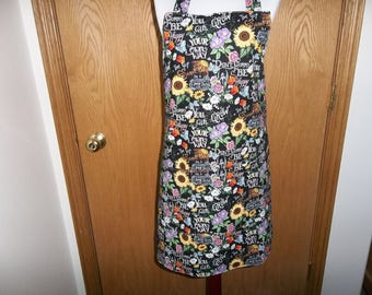 Sunflower Apron Womens Full Apron Front Pocket Reverible Apron Be Happy Apron Chefs Apron Cooking Apron Adjustable Neck Strap Handmade Gift