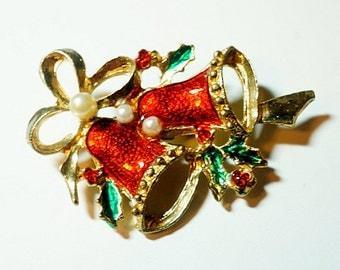 Red Enameled Christmas Bells Brooch, Vintage Brooch or Pin